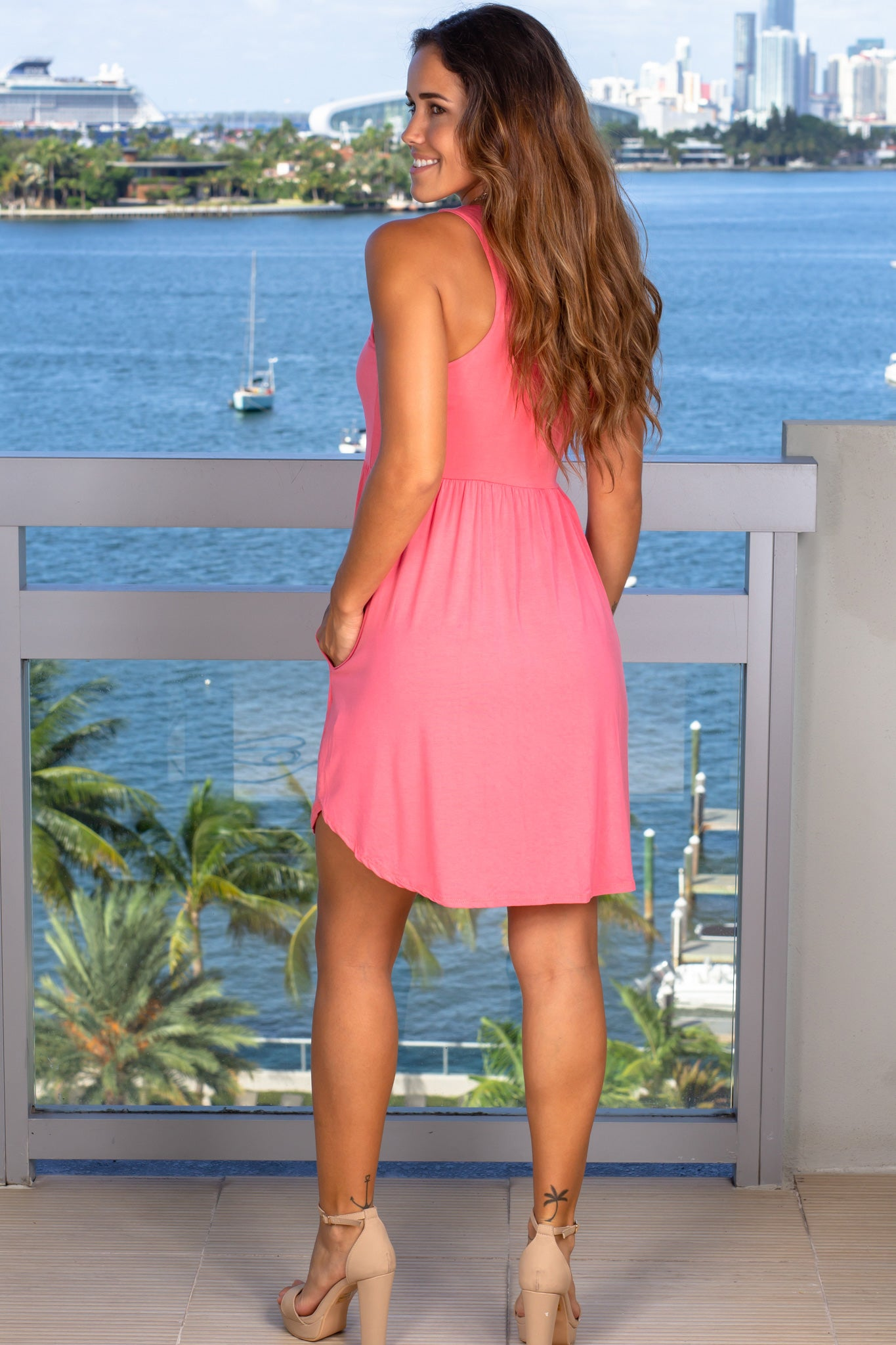 pink lounging short dress