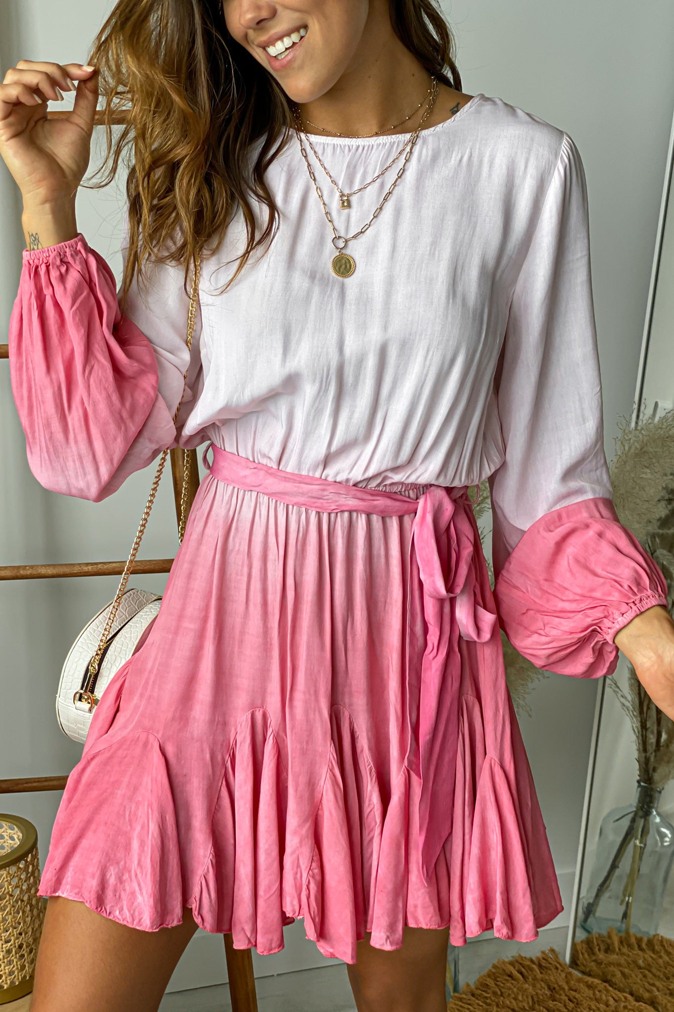 pink ombre short dress with sleeves