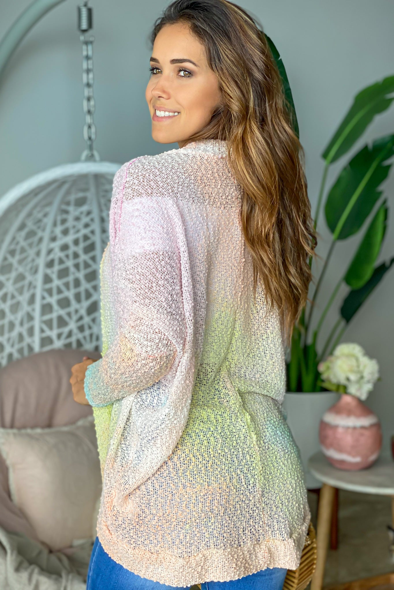 pink open cardigan