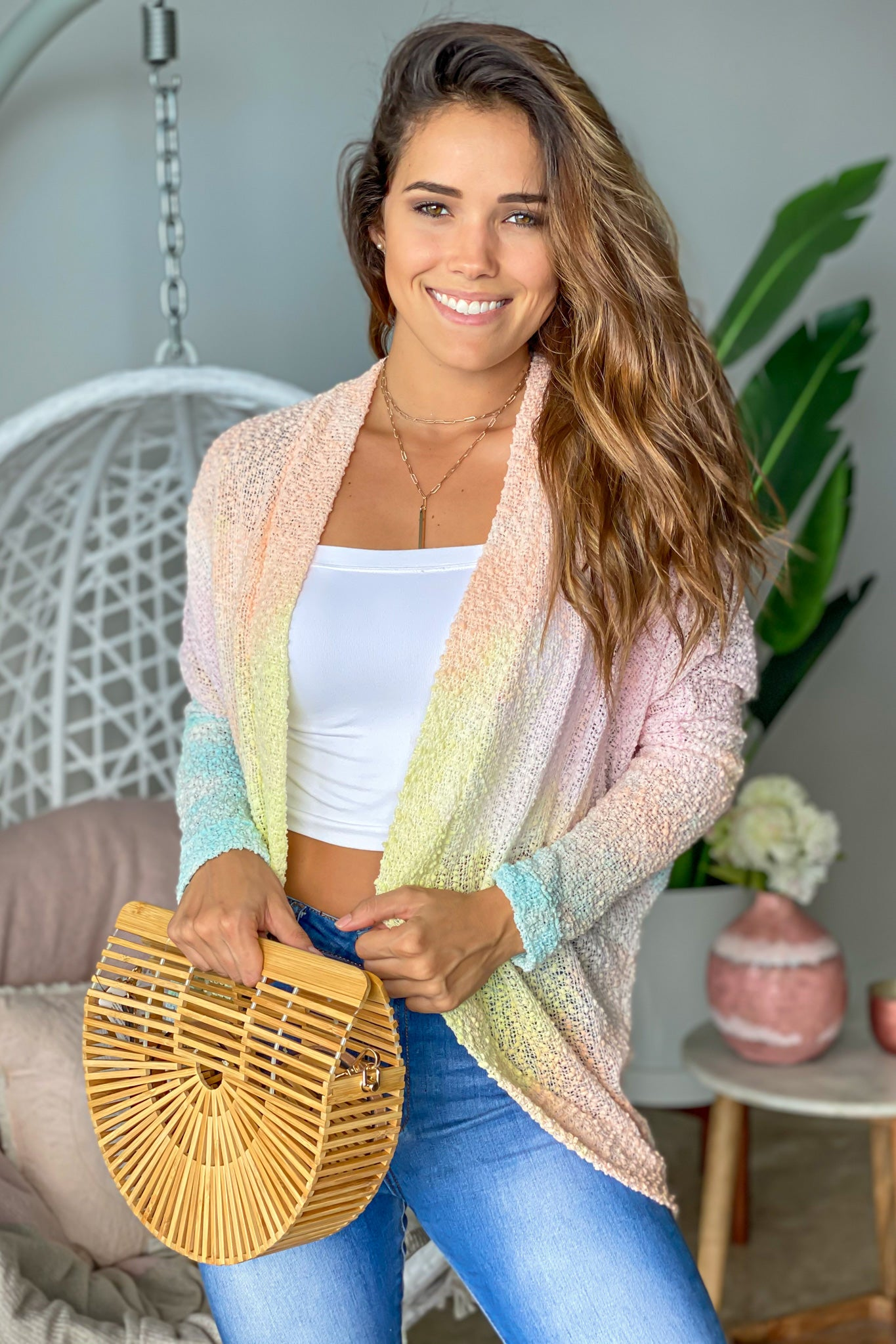 pink pastel ombre open cardigan