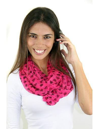 pink printed heart scarf