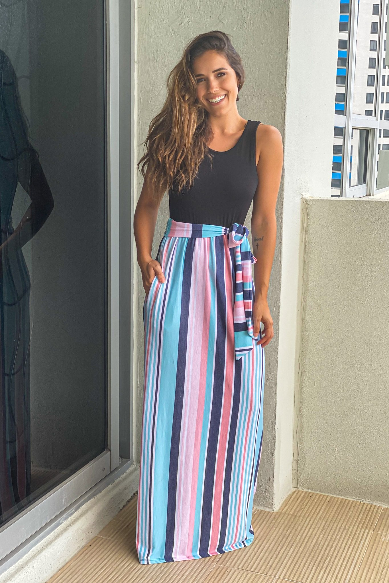 pink sleeveless striped maxi dress