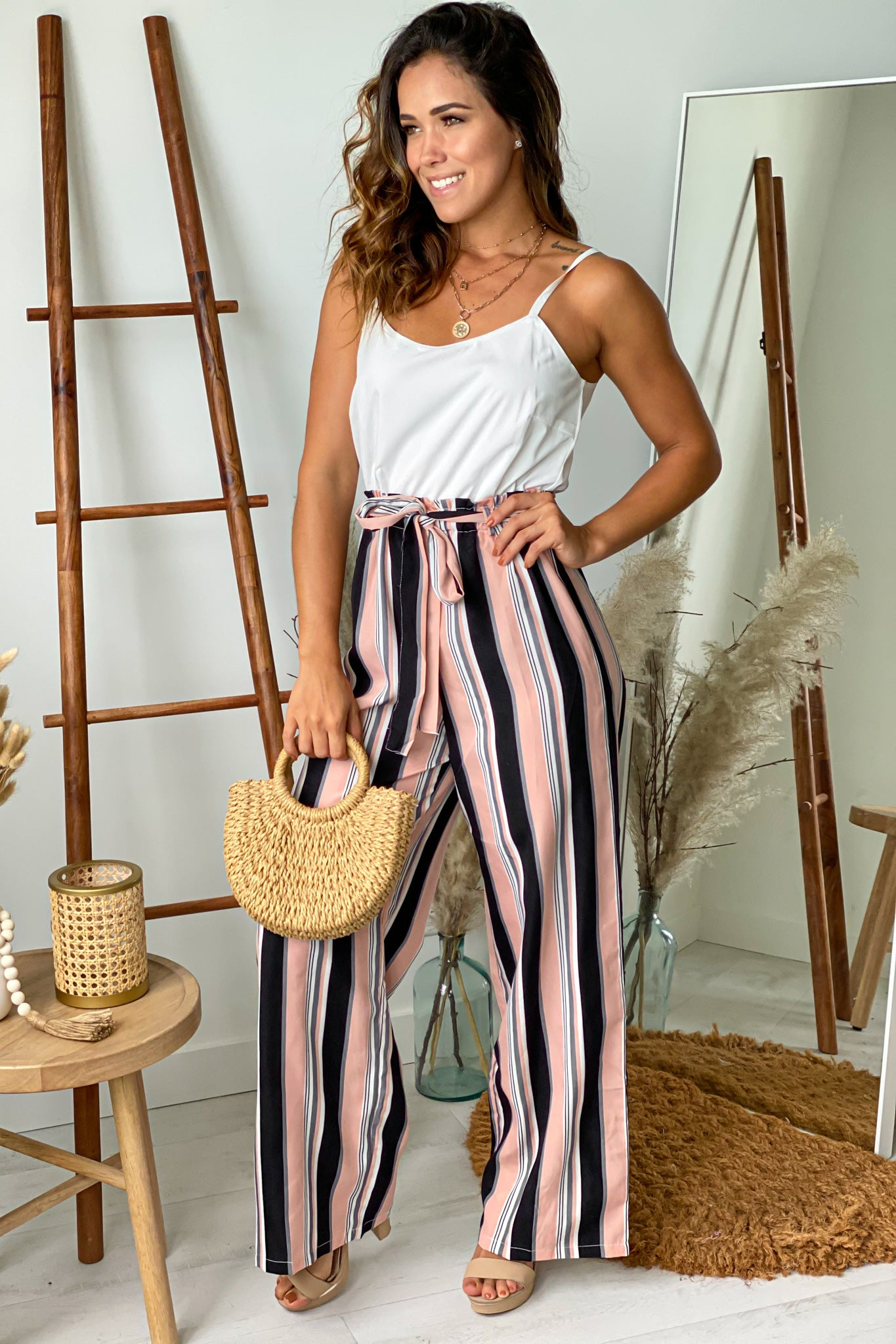 pink striped casual jumpsuit