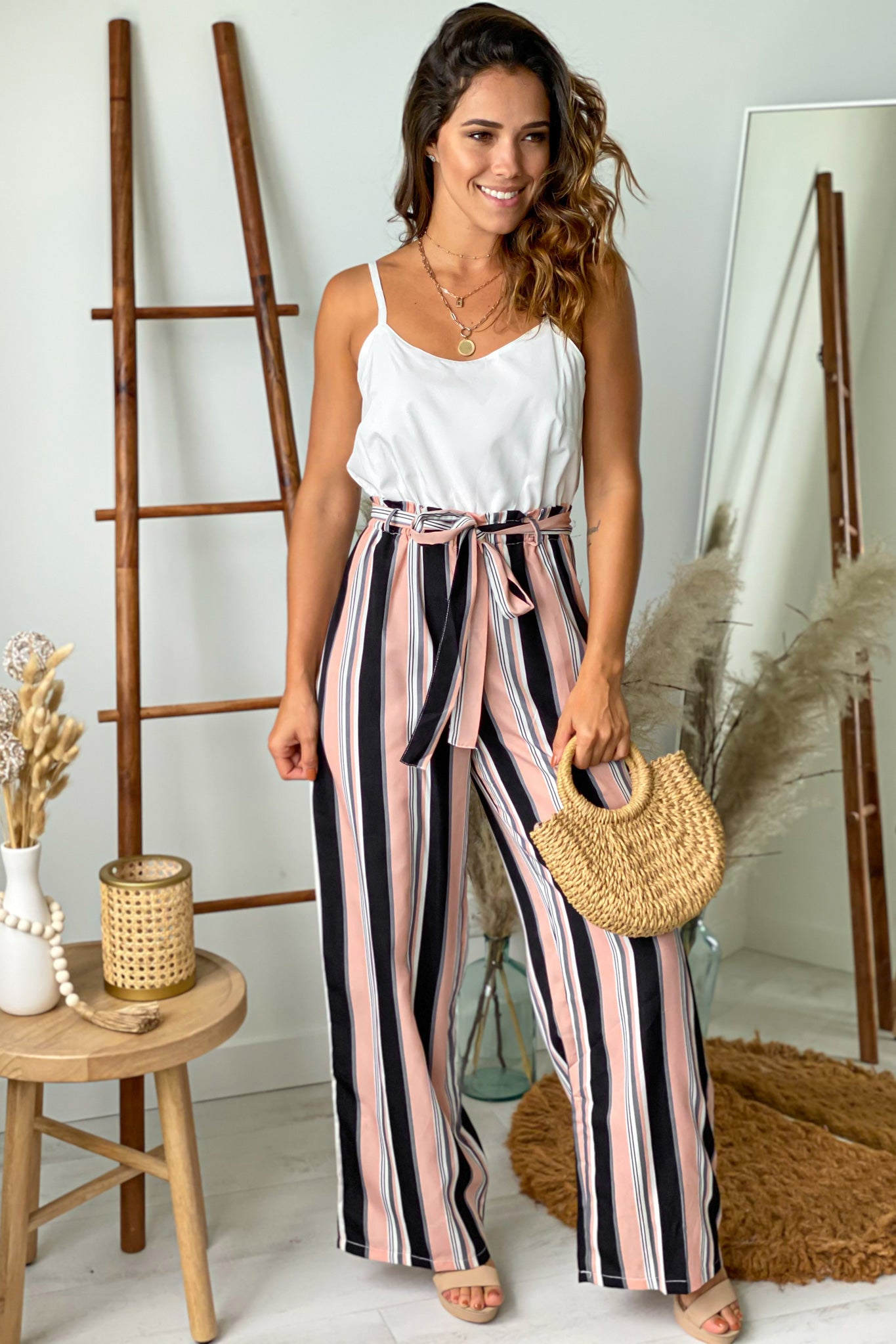 pink striped cute jumpsuit