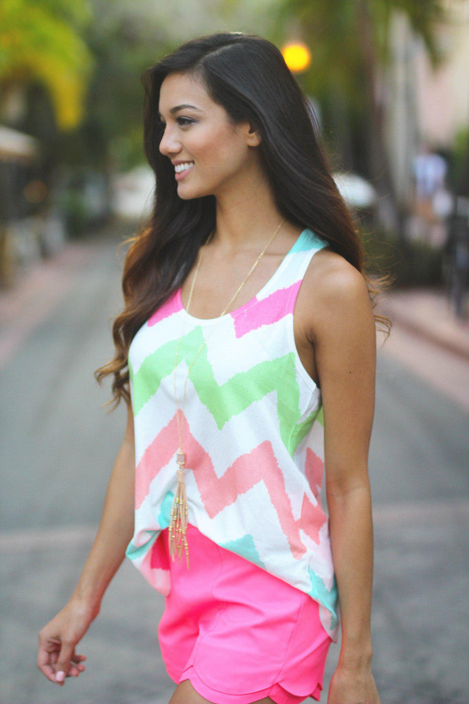 multi color chevron beach top