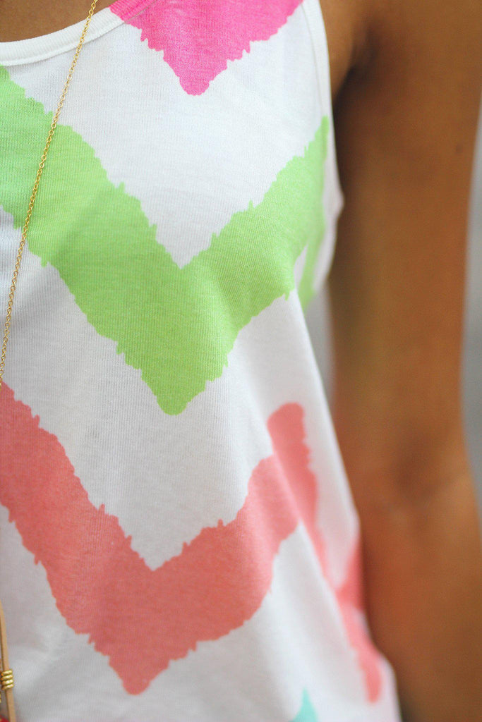 multi color chevron print tank top