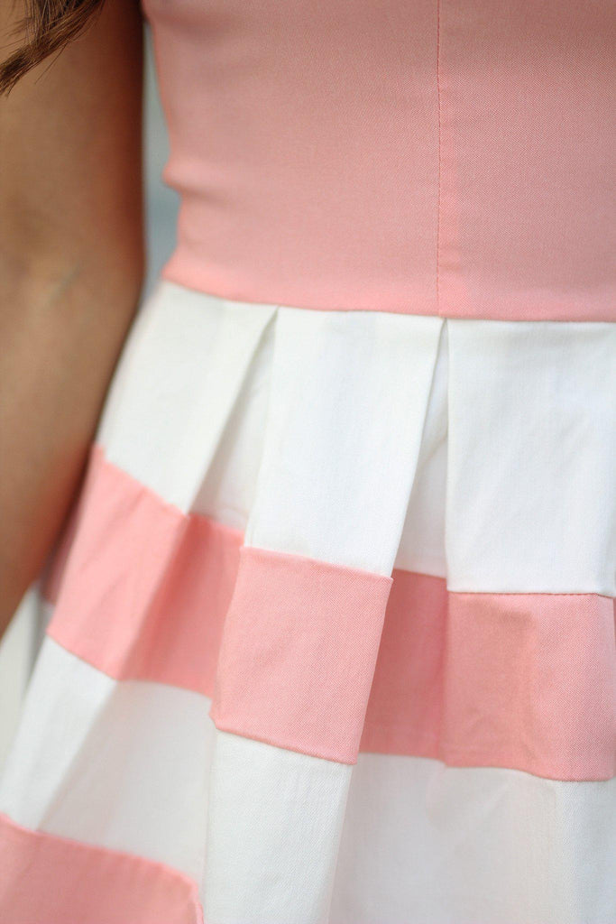 blush color block pleated dress