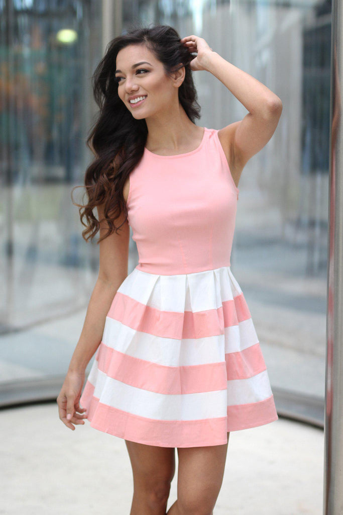 blush sleeveless dress