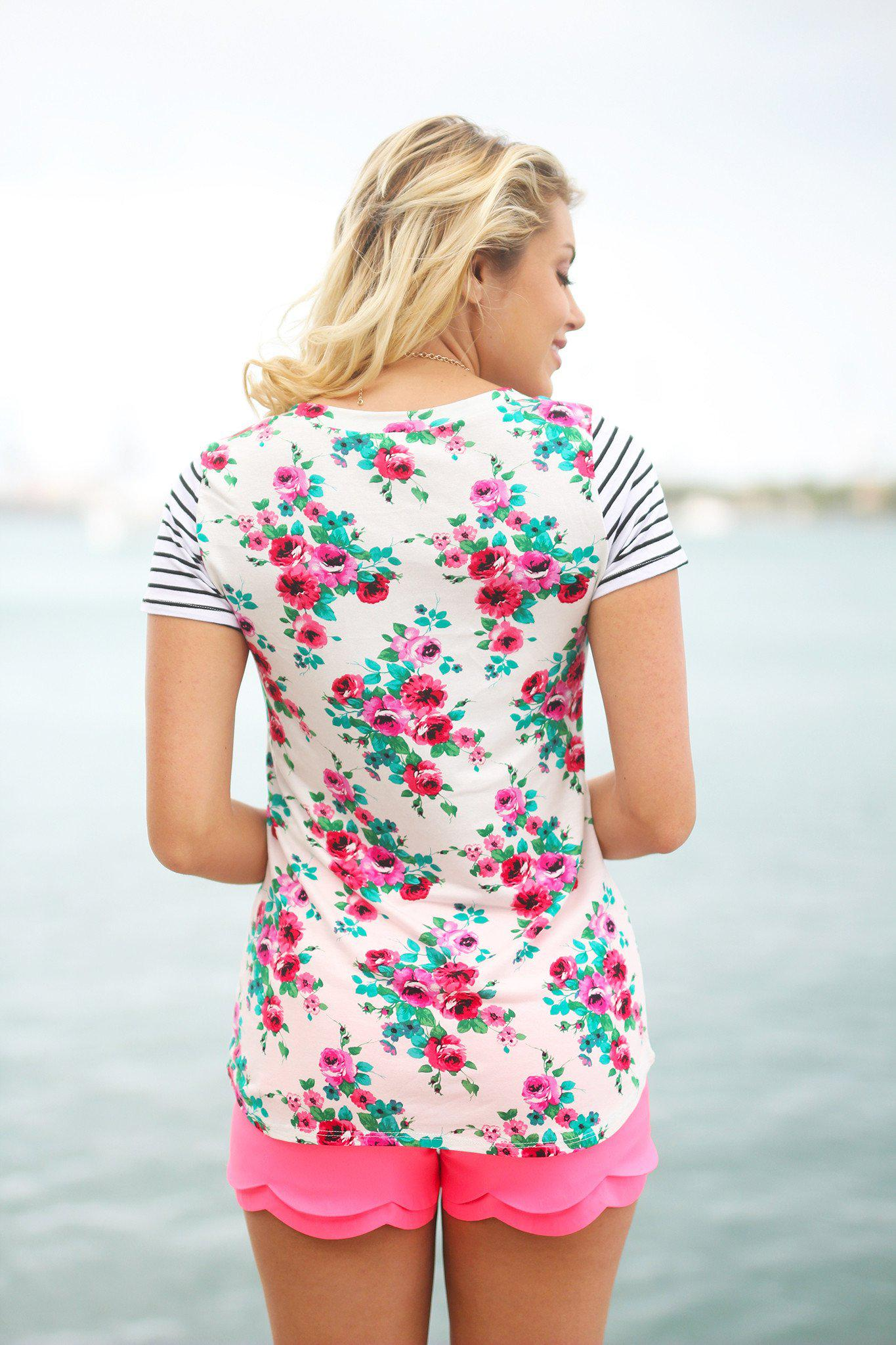 Ivory Floral Top with Pocket