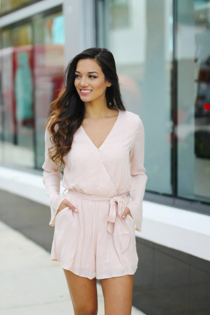 blush v-neck romper
