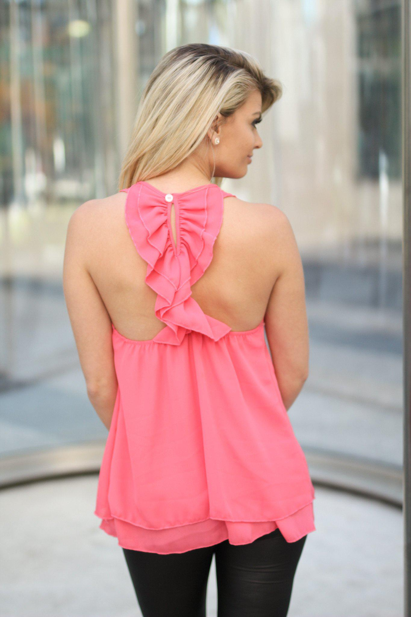 Coral Top with Ruffle Back