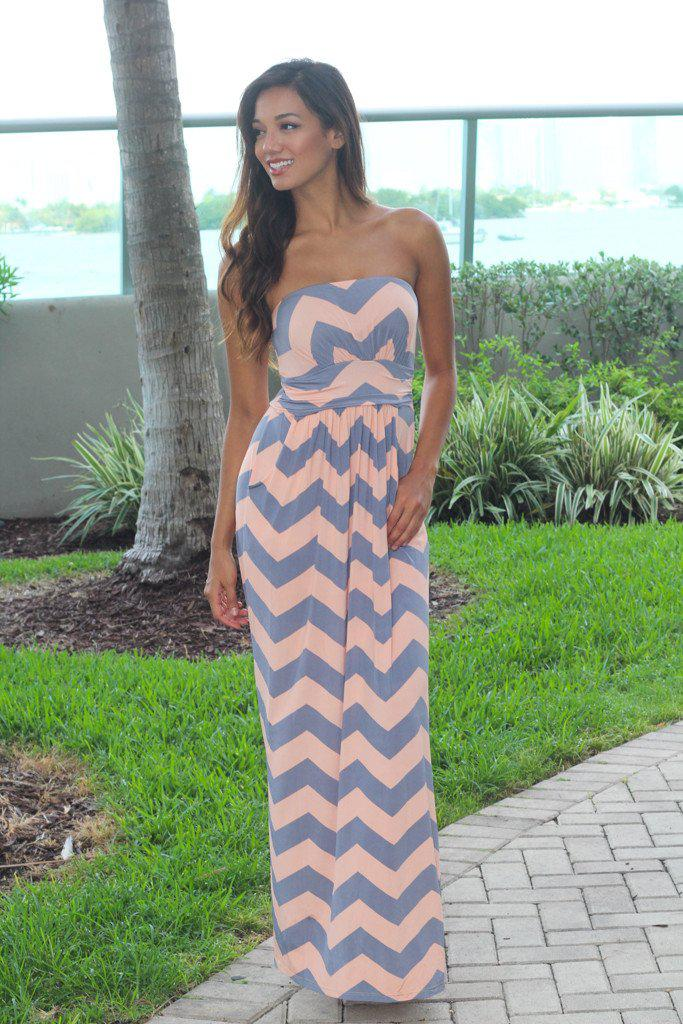 Blush and Gray Chevron Maxi Dress with Pockets