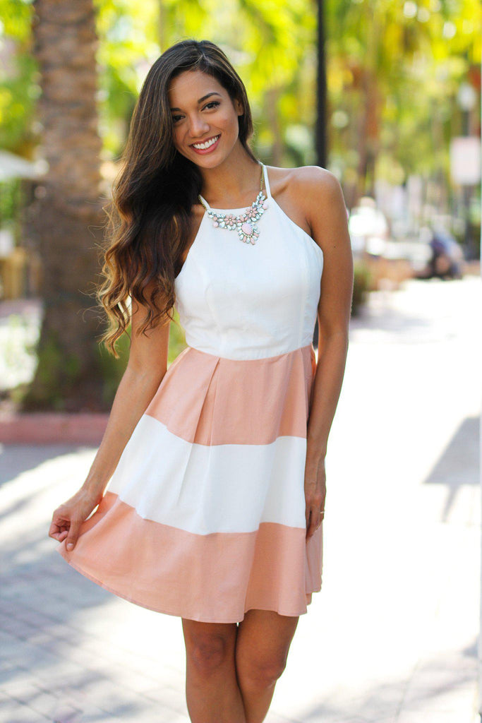 salmon and white color block short dress