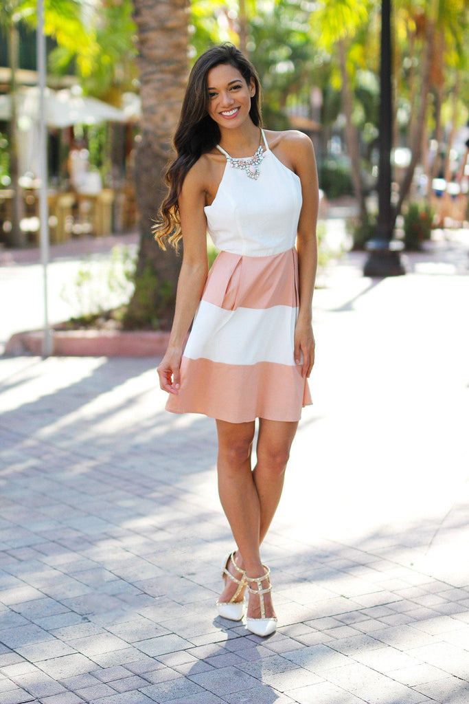 salmon and white dress