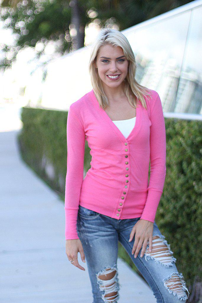 Pink Button Down Cardigan