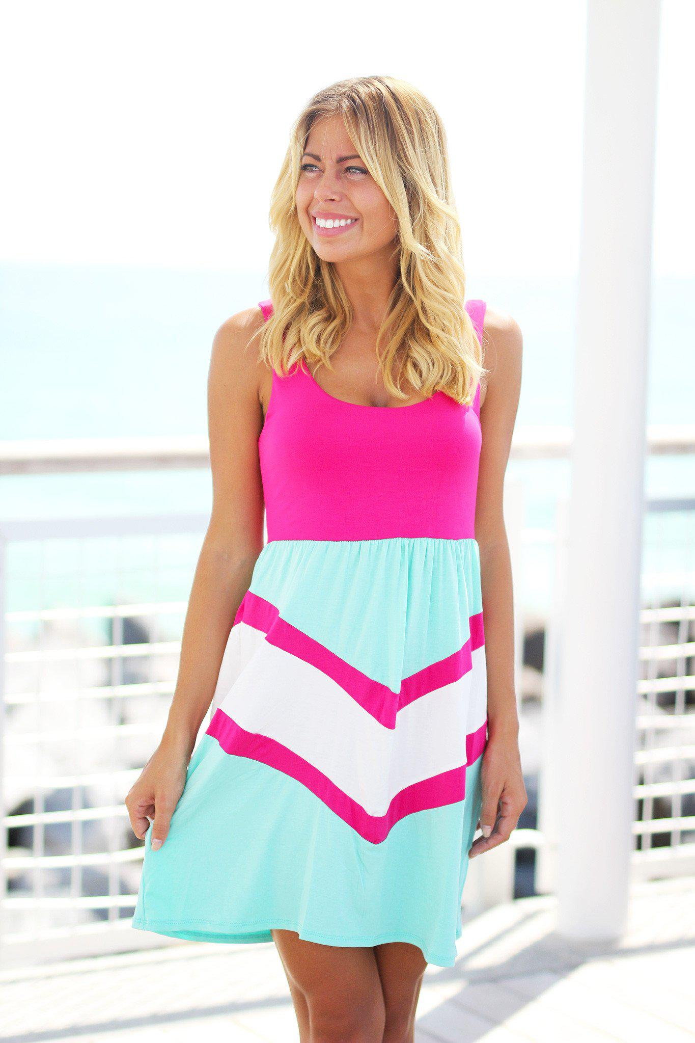 Pink and Mint Chevron Short Dress