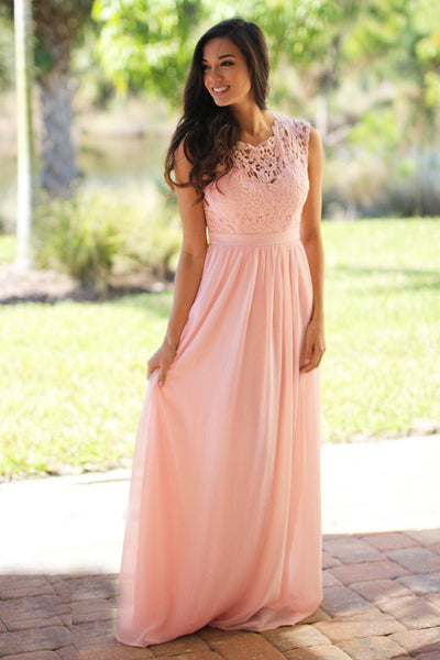 Pink Crochet Maxi Dress With Tulle Back Long Dress