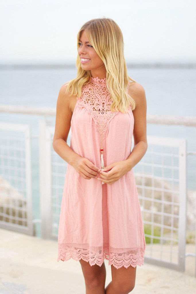blush crochet short dress