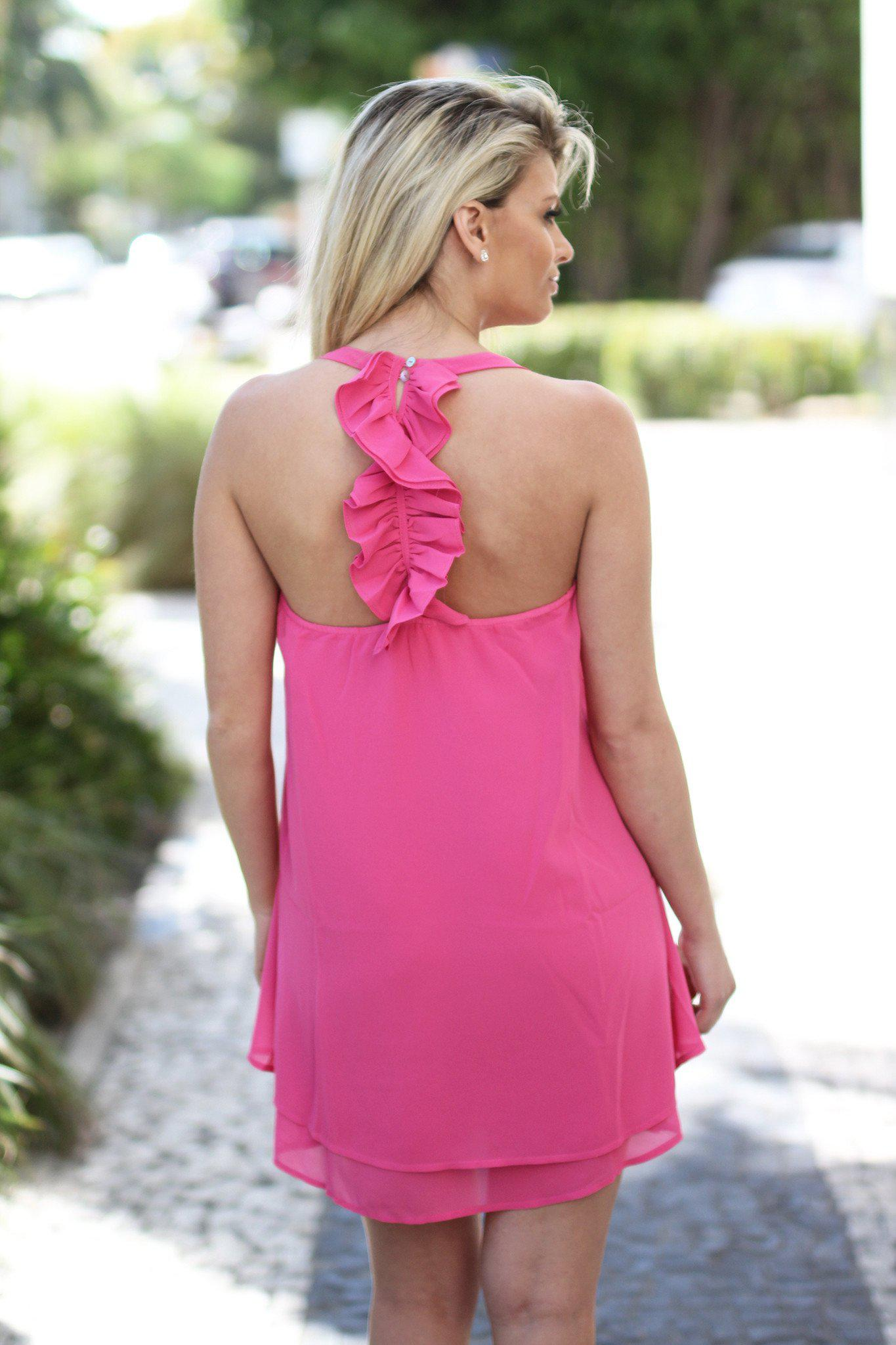 Pink Short Dress with Ruffle Back