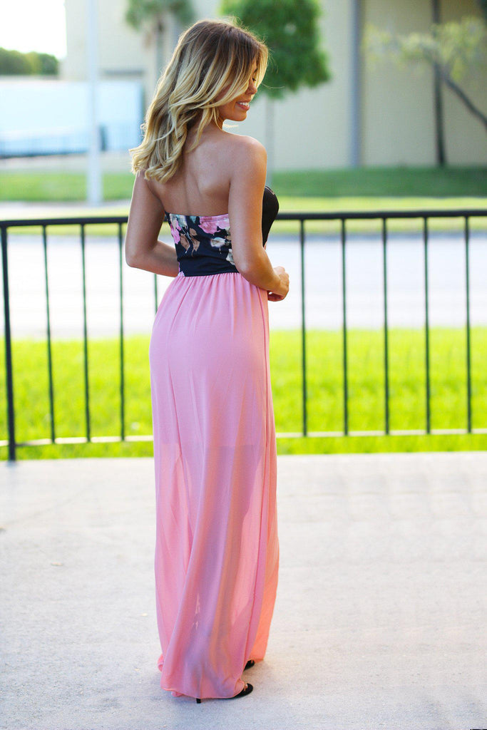 Dusty Pink Maxi Dress With Floral Top