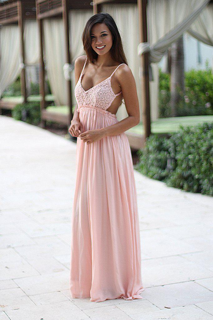 Pink Lace Maxi Dress With Open Back and Frayed Hem | Maxi Dresses ...