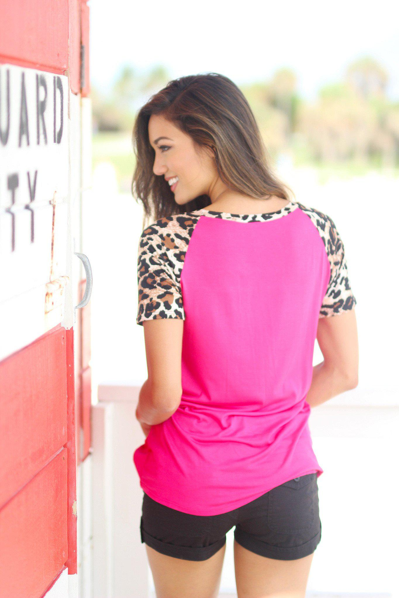 Hot Pink Top with Leopard Sleeves