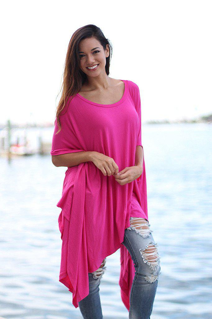 Pink Poncho Style Top