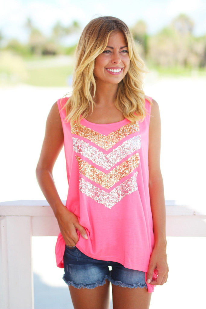pink chevron tank top
