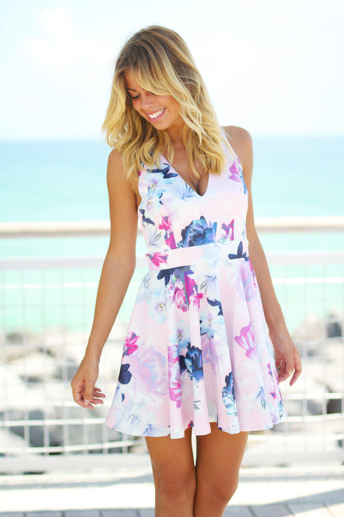 Pink Floral Short Dress with Cut Out Back