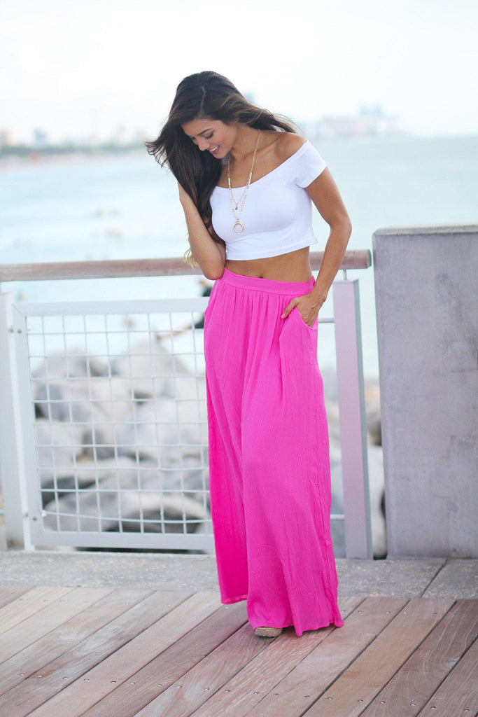 fuchsia summer skirt