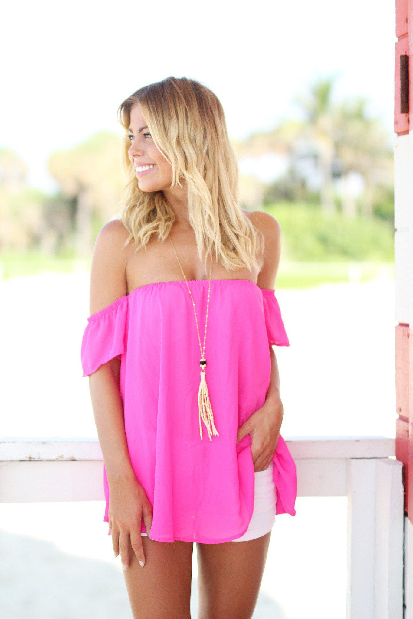 Fuchsia Off Shoulder Top with Short Sleeves