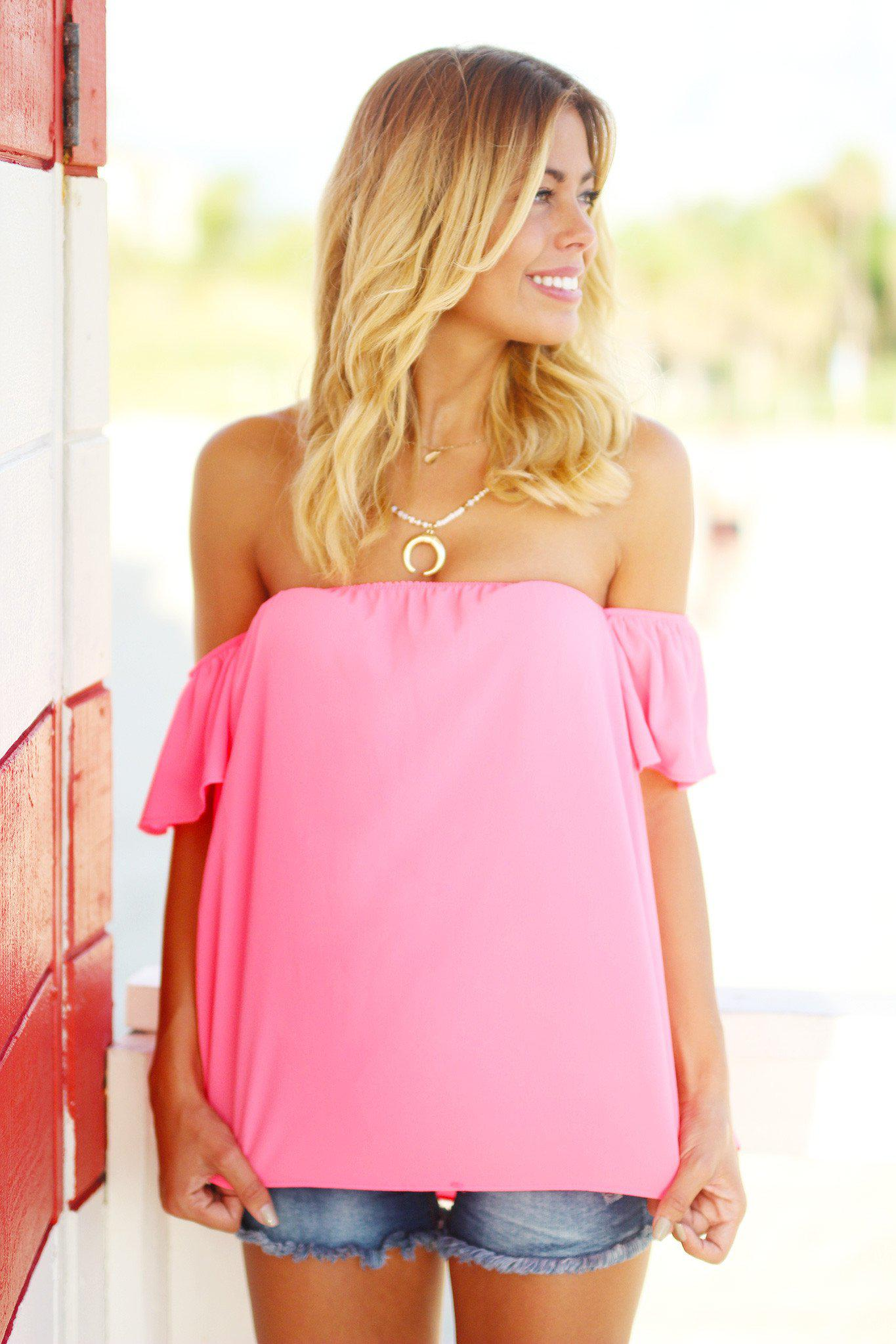 Neon Pink Off Shoulder Top