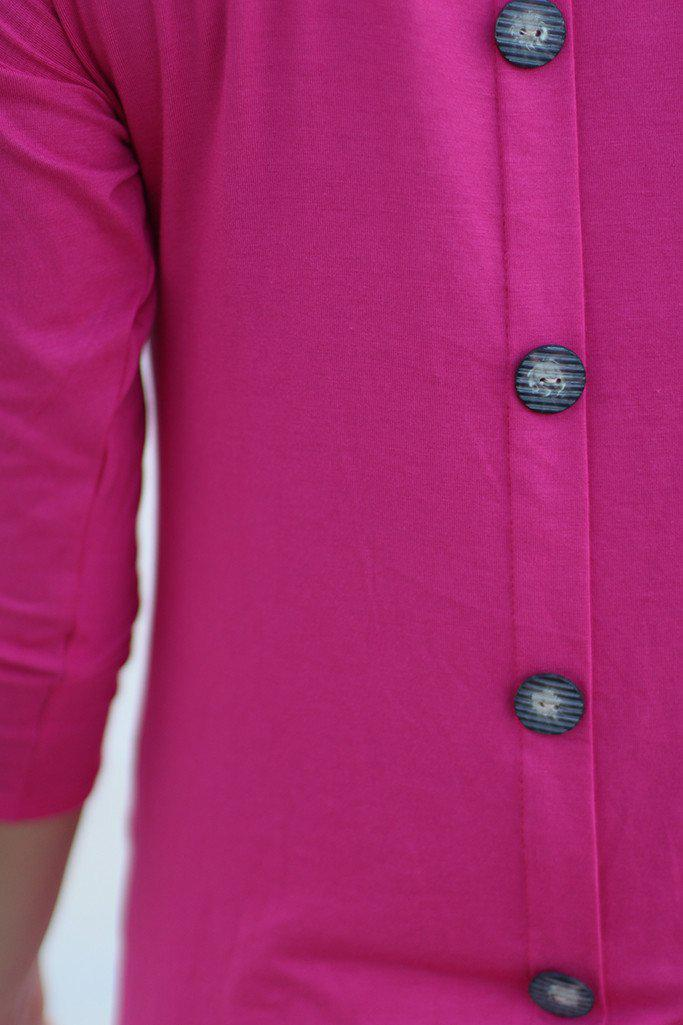 Pink Top With ¾ Sleeves And Pockets