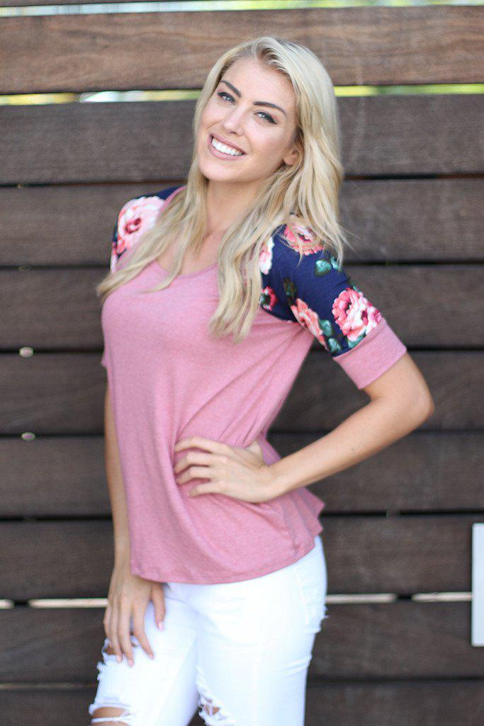 Pink Top With Floral Short Sleeves