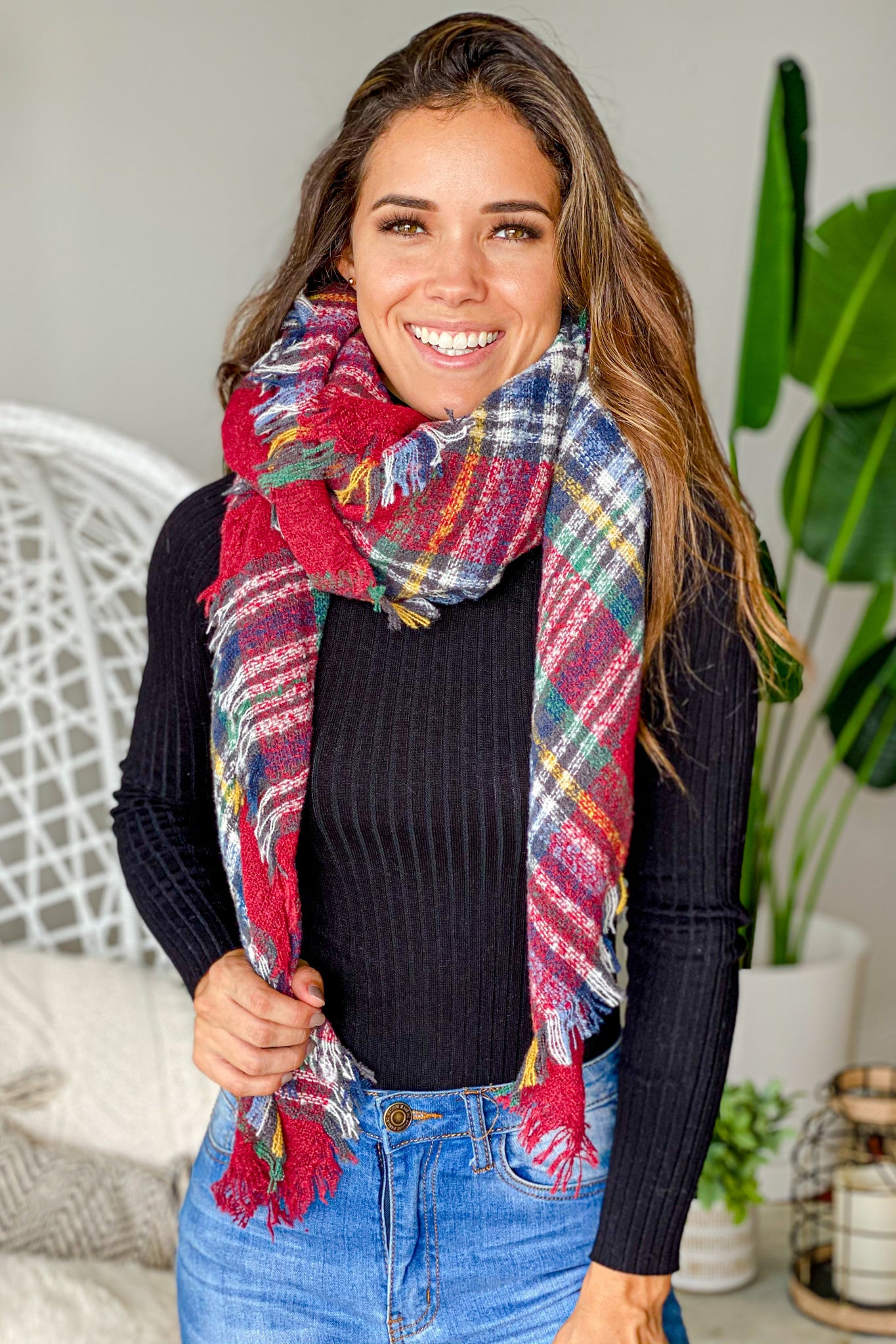 plaid casual scarf