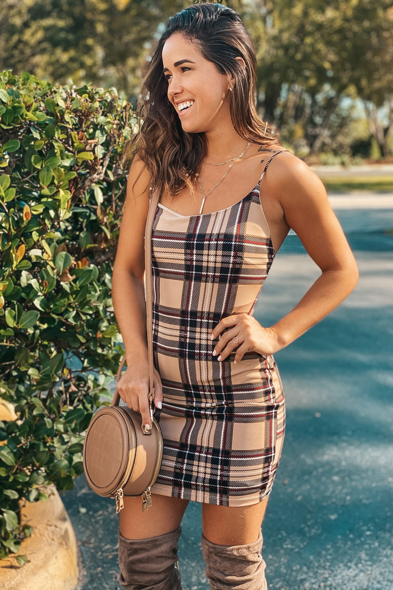 plaid cute short dress
