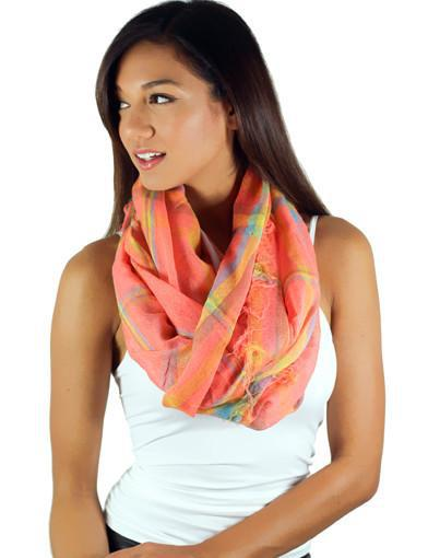 Neon Coral Plaid Scarf