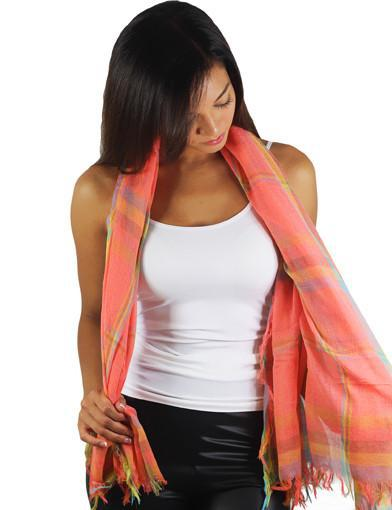 Plaid spring scarf - full view