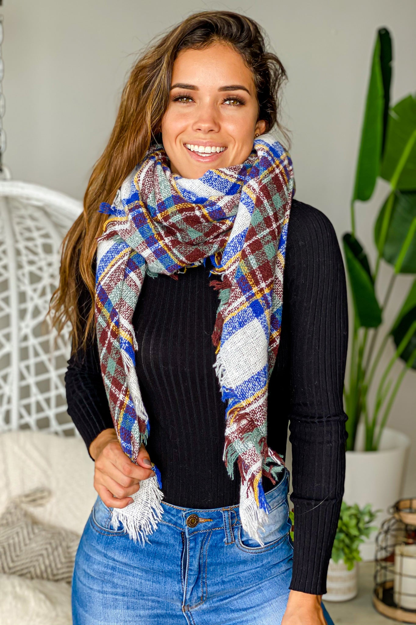 plaid warm scarf