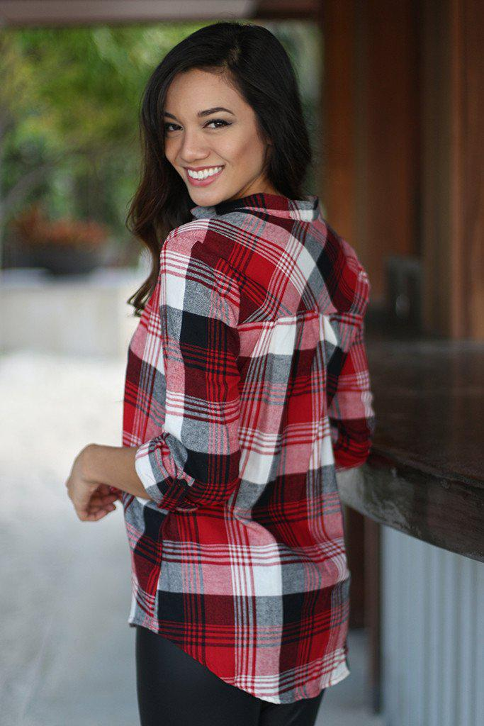 Red Plaid Top With Mandarin Collar