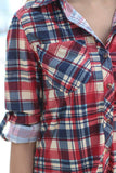 3/4 sleeves plaid shirt