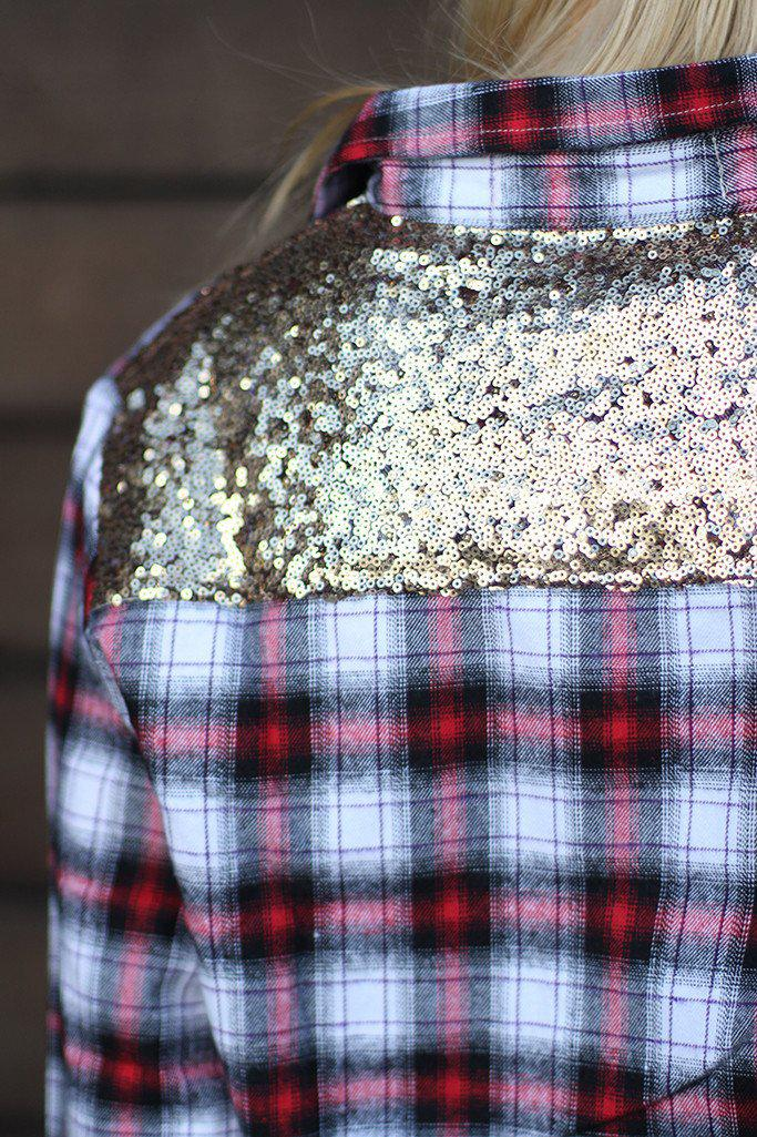 Plaid Top With Sequins