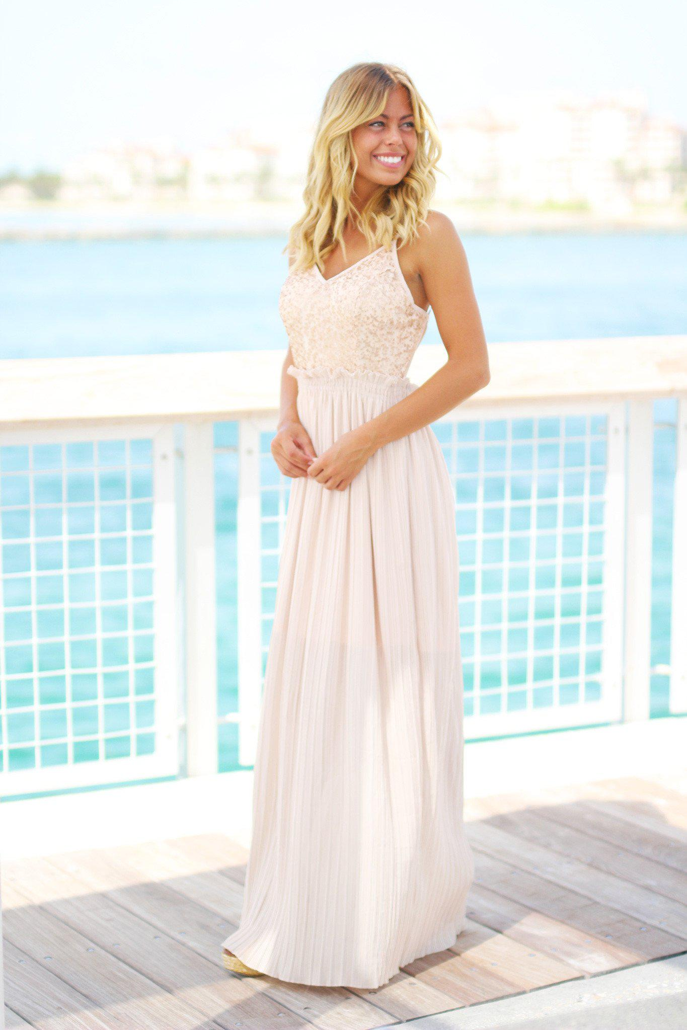 Champagne Maxi Dress with Open Back