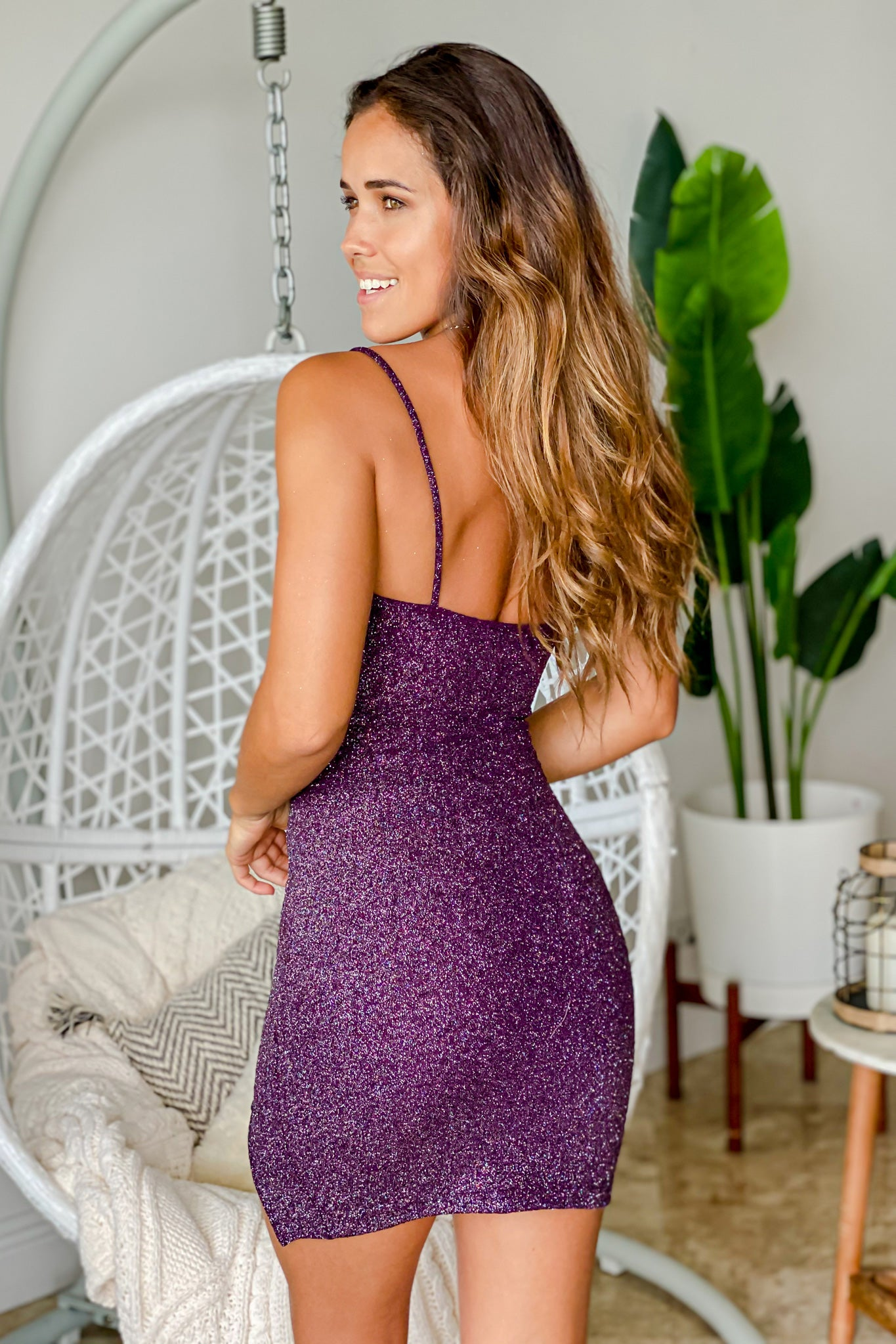 plum glitter short dress with slit