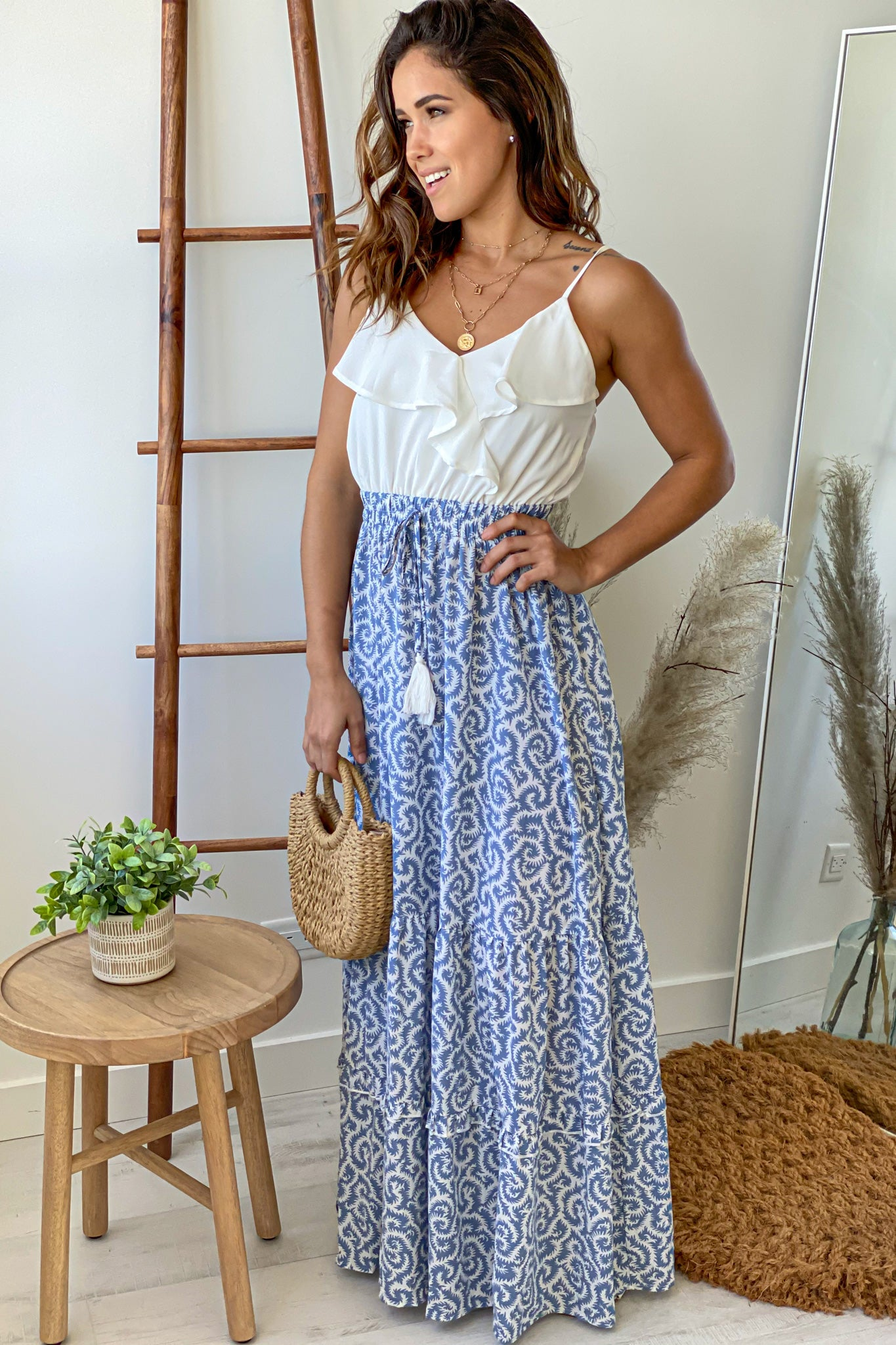 printed cute maxi dress