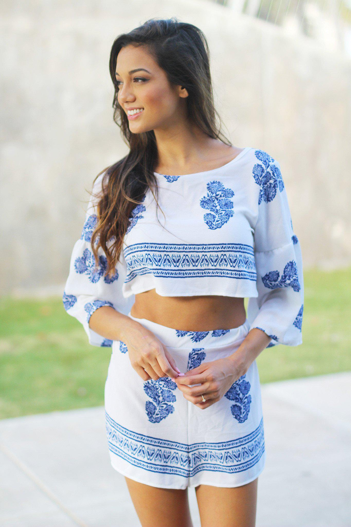 Ivory Bell Sleeve Cropped Top and Short Set
