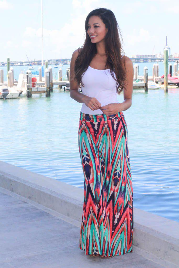 895d3ac8a Coral and Mint Printed Maxi Skirt | Multi Color Skirt | Printed Skirt –  Saved by the Dress