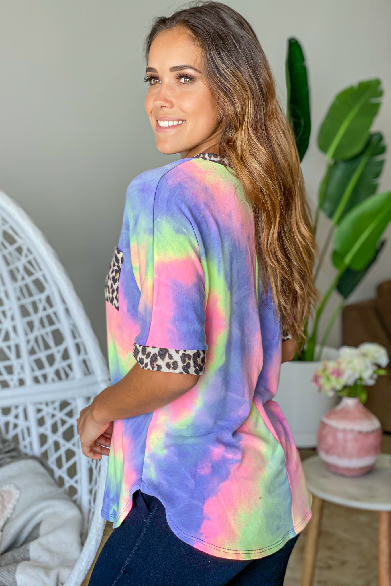 purple tie dye cute top