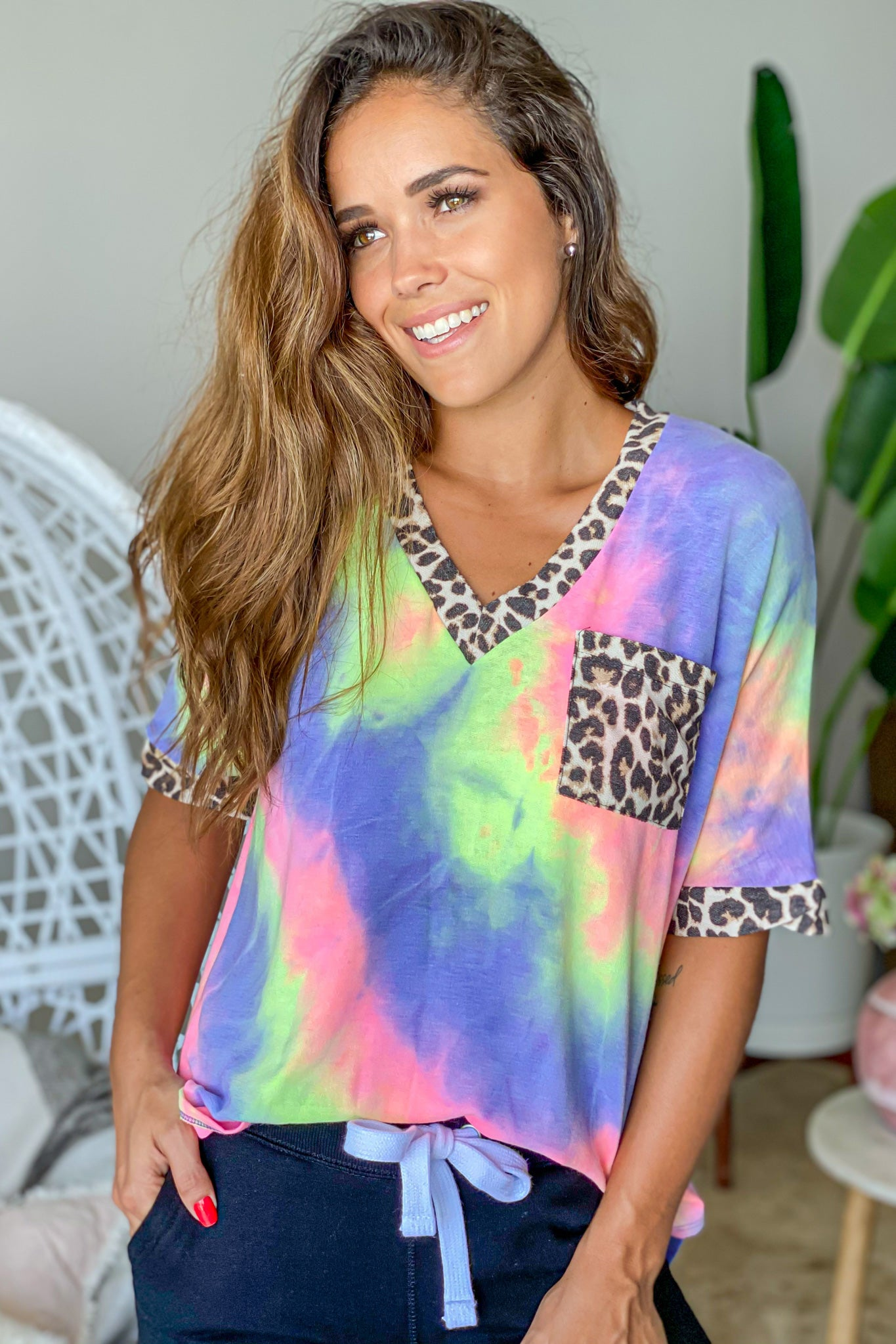 purple tie dye top with pocket