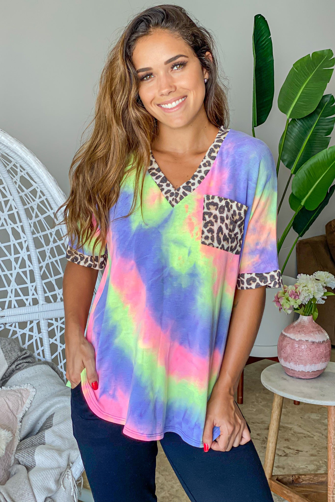 purple tie dye v-neck top with leopard details